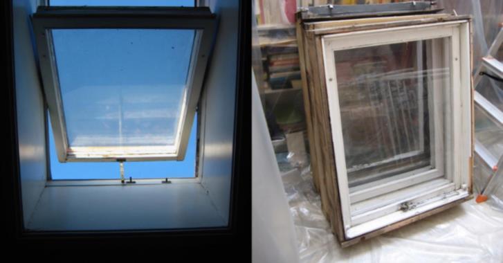 Tre gamla takfönster