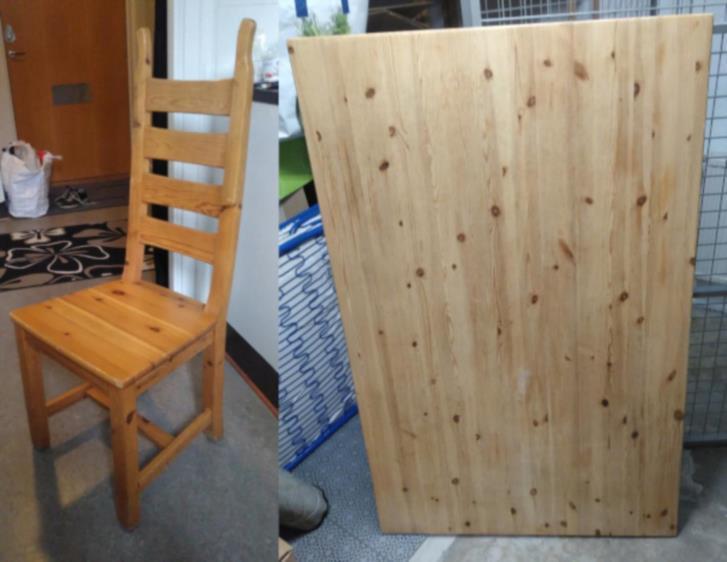Matbord + 4 stolar  bortskänkes.
