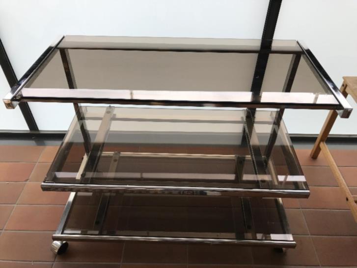 TV-bänk i glas/metall