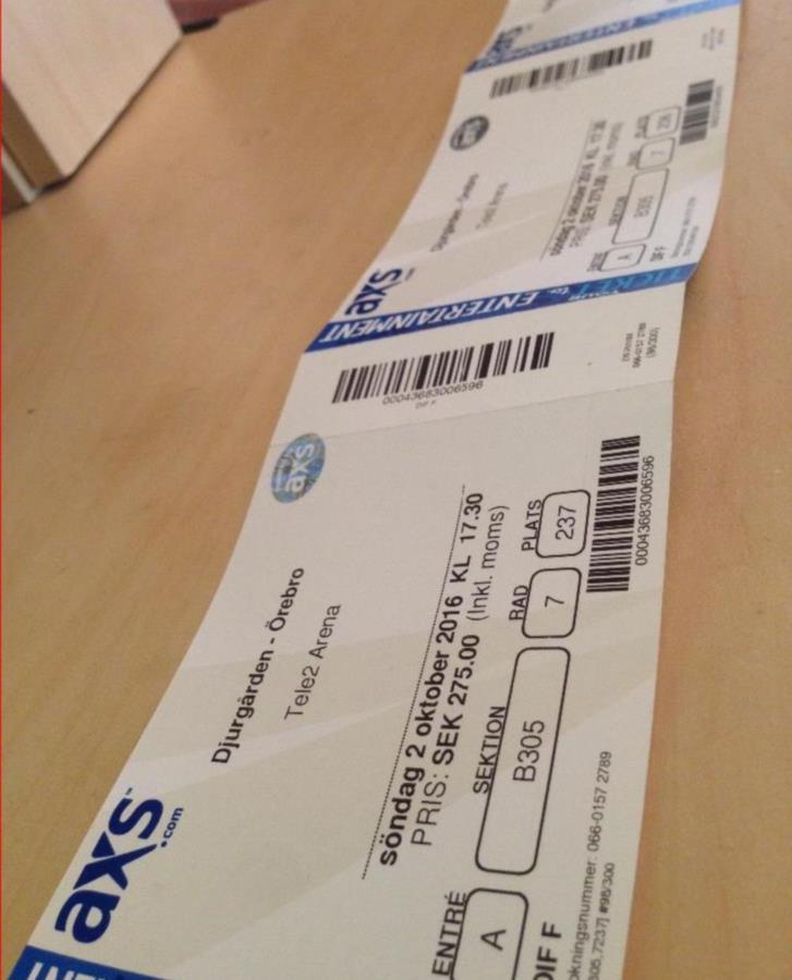 Djurgården - Örebro matchbiljetter x 3 Sön 2/10