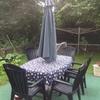 Trädgårdsmöbler och parasoll