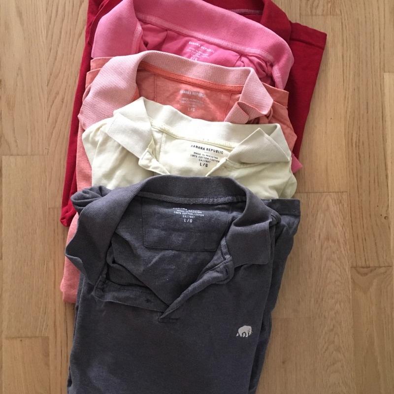 5 st kortärmade pikétröjor, Stl. Large