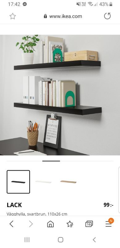Vägghyllor, Lack svartbrun (Ikea), 3 st