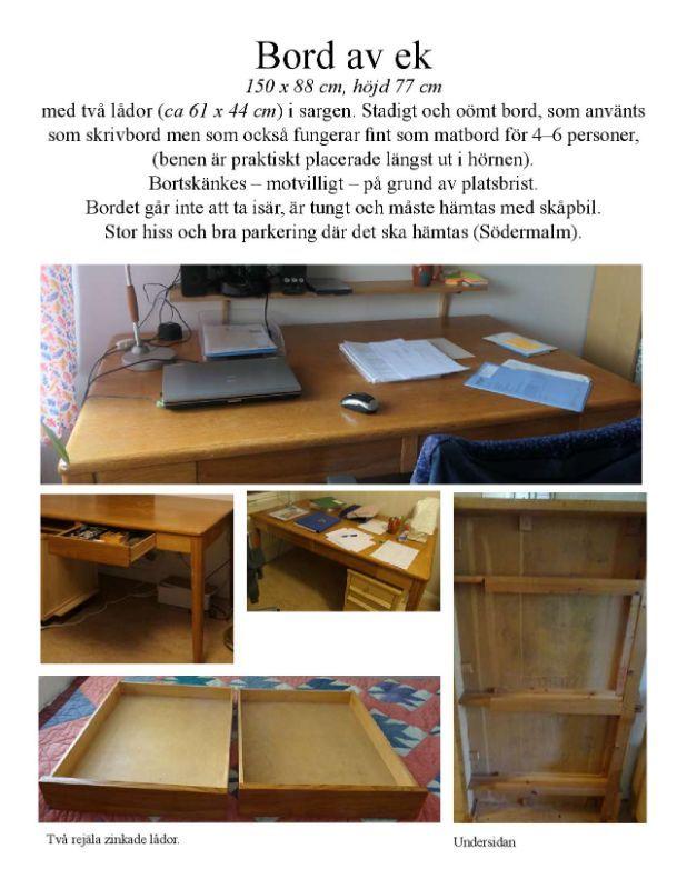 Mat-/skrivbord av ek