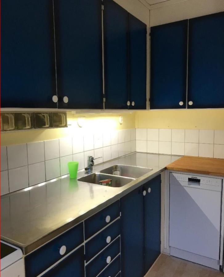 Blåa köksluckor & lådor, slutet 60-tal
